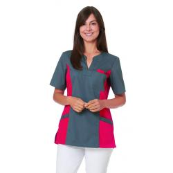 Damen -  Schlupfjacke 2650 von LEIBER / Farbe: grau-rot / 65 % Polyester 35 % Baumwolle - | MEIN-KASACK.de | kasack | ka