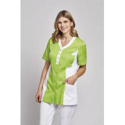 Damen -  Kasack 2789 von LEIBER / Farbe: weiß-grün / 50% Baumwolle, 50% Polyester -   MEIN-KASACK.de   kasack   kasacks