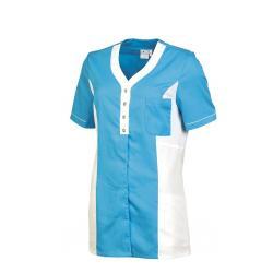 Damen -  Kasack 2789 von LEIBER / Farbe: weiß-türkis / 50% Baumwolle, 50% Polyester - | MEIN-KASACK.de