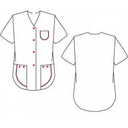 Kasack 390 von BEB / Farbe: Weiß/Rot / 65% Polyester, 35% Baumwolle, 175 g/m² - | Wenn Kasack - Dann MEIN-KASACK.de | Ka