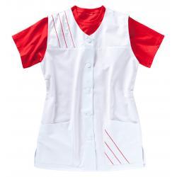 Damen -  Kasack 396 von BEB / Farbe: Weiß/Strawberry / 65% Polyester, 35% Baumwolle, 210 g/m² - | MEIN-KASACK.de | kasac