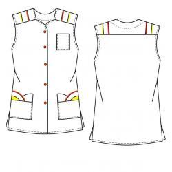 Kasack 398 von BEB / Farbe: Weiß/Orange/Braun / 65% Polyester, 35% Baumwolle, 175 g/m² - | Wenn Kasack - Dann MEIN-KASAC