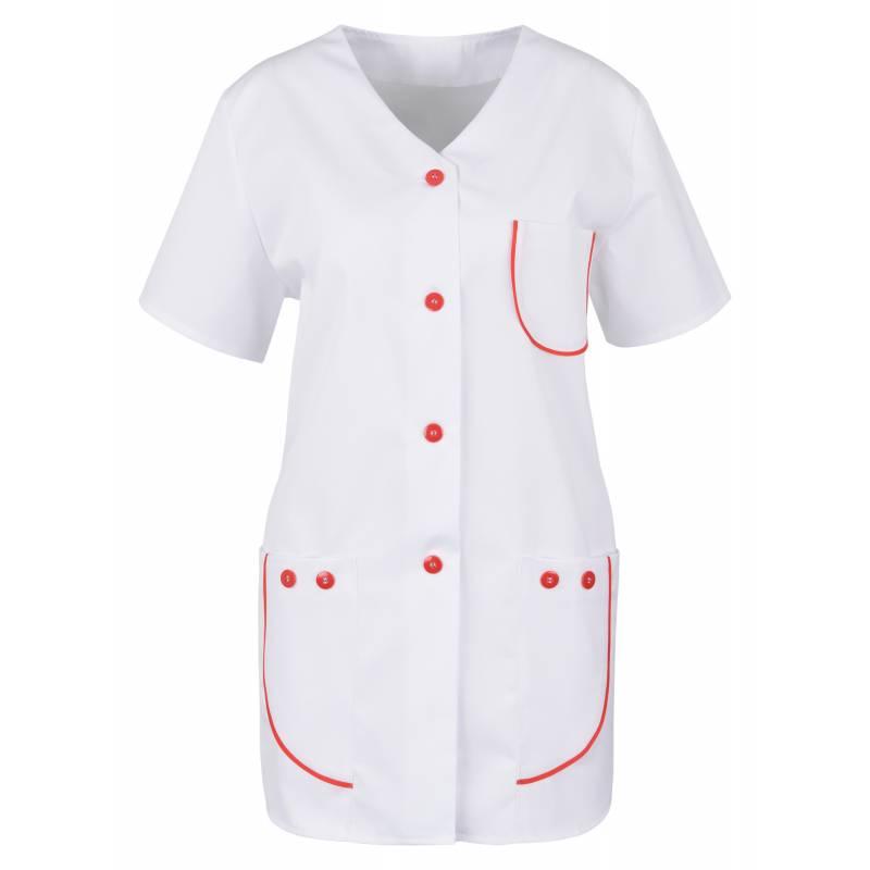 Damen -  Kasack 390 von BEB / Farbe: Weiß/Rot / 65% Polyester, 35% Baumwolle, 175 g/m² - | MEIN-KASACK.de | kasack | kas