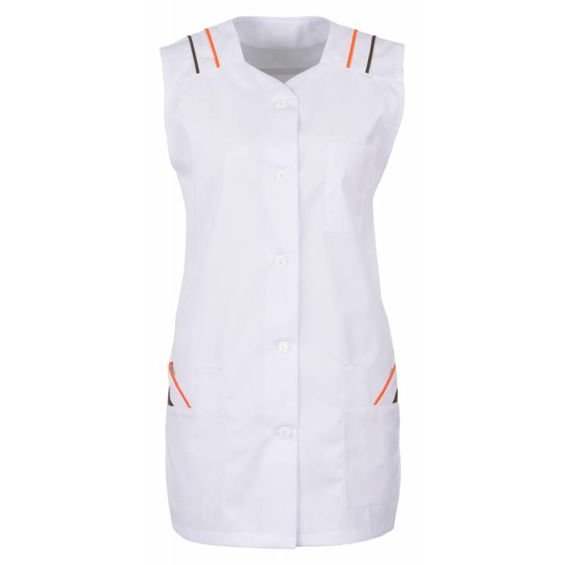 Damen -  Kasack 398 von BEB / Farbe: Weiß/Orange/Braun / 65% Polyester, 35% Baumwolle, 175 g/m² - | MEIN-KASACK.de | kas