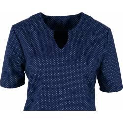 Damen -  Kasack 2139 von BEB / Farbe: blau-weiß-gepunktet / Stretcheinsatz - 35% Baumwolle 65% Polyester - | MEIN-KASACK