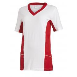 Damen -  Schlupfjacke 2531 von LEIBER / Farbe: weiß-rot / 50 % Baumwolle 50 % Polyester - | MEIN-KASACK.de