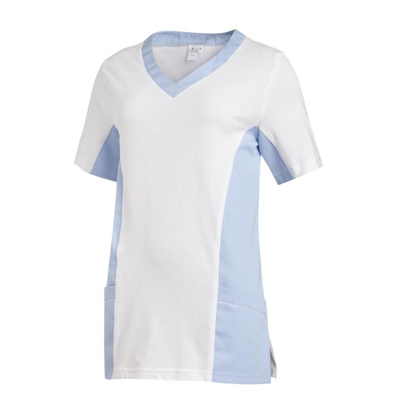 Schlupfjacke 2531 von LEIBER / Farbe: weiß-hellblau / 50 % Baumwolle 50 % Polyester - | Wenn Kasack - Dann MEIN-KASACK.d