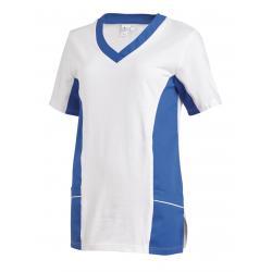 Damen -  Schlupfjacke 2531 von LEIBER / Farbe: weiß-königsblau / 50 % Baumwolle 50 % Polyester - | MEIN-KASACK.de