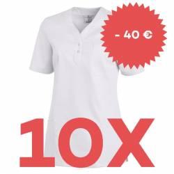 SPARSET: 10x Damen -  Schlupfjacke 1254 von LEIBER / Farbe: weiß - | MEIN-KASACK.de | kasack | kasacks | kassak | berufs