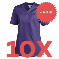 SPARSET: 10x Damen -  Schlupfjacke 1254 von LEIBER / Farbe: lila - | MEIN-KASACK.de | kasack | kasacks | kassak | berufs