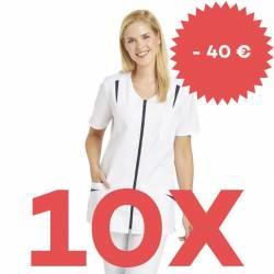 SPARSET: 10x Damen -  Hosenkasack 2533 von LEIBER / Farbe: weiß-marine - | MEIN-KASACK.de | kasack | kasacks | kassak |