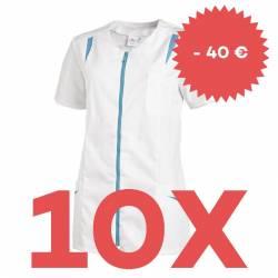 SPARSET: 10x Damen -  Hosenkasack 2533 von LEIBER / Farbe: weiß-türkis - | MEIN-KASACK.de | kasack | kasacks | kassak |