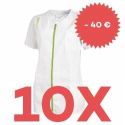 SPARSET: 10x Damen -  Hosenkasack 2533 von LEIBER / Farbe: weiß-hellgrün - | MEIN-KASACK.de | kasack | kasacks | kassak