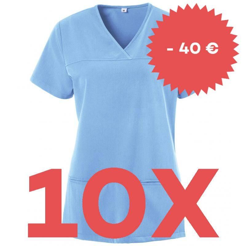 SPARSET: 10x Damen -  Kasack 280 - X-TOP von EXNER / Farbe: light blue -   MEIN-KASACK.de   kasack   kasacks   kassak  