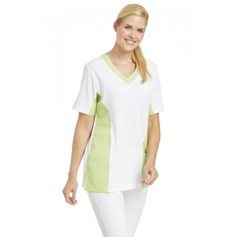 Damen -  Schlupfjacke 2531 von LEIBER / Farbe: weiß-hellgrün / 50 % Baumwolle 50 % Polyester -   MEIN-KASACK.de   kasack