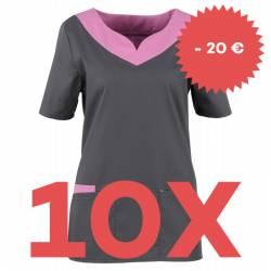 SPARSET: 10x Damen -  Kasack 2436 von BEB / Farbe: dunkelgrau-lila-lagune / Stretchgewebe - | MEIN-KASACK.de | kasack |