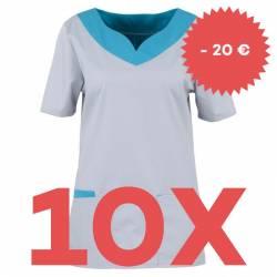 SPARSET: 10x Damen -  Kasack 2436 von BEB / Farbe: hellgrau-dunkeltürkis / Stretchgewebe - | MEIN-KASACK.de | kasack | k