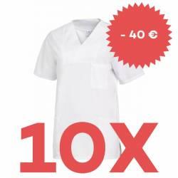 SPARSET: 10x Damen -  Schlupfjacke 2732 von LEIBER / Farbe: weiß - | MEIN-KASACK.de | kasack | kasacks | kassak | berufs