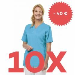 SPARSET: 10x Damen -  Schlupfjacke 2732 von LEIBER / Farbe: türkis - | MEIN-KASACK.de | kasack | kasacks | kassak | beru