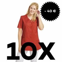 SPARSET: 10x Damen -  Kasack 2549 von Leiber / Farbe: lobster - | MEIN-KASACK.de | kasack | kasacks | kassak | berufsbek