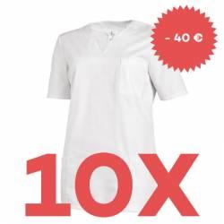 SPARSET: 10x Damen -  Schlupfjacke 1249 von LEIBER / Farbe: weiß - | MEIN-KASACK.de | kasack | kasacks | kassak | berufs