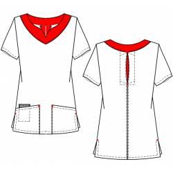 Damen -  Kasack 2436 von BEB / Farbe: weiß-rot / Stretchgewebe - 32% Baumwolle 65% Polyester 3% Elastolefin - | MEIN-KAS
