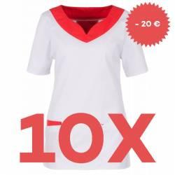 SPARSET: 10x Damen -  Kasack 2436 von BEB / Farbe: weiß-rot / Stretchgewebe - 32% Baumwolle 65% Polyester 3% Elastolefin