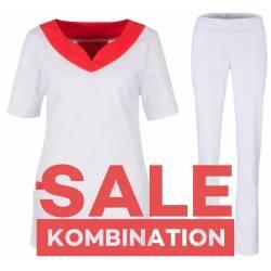 SALE - Kombination aus KASACK 2436 und DAMENHOSE 2447 von BEB / Farbe: ROT - WEISS - | MEIN-KASACK.de | kasack | kasacks