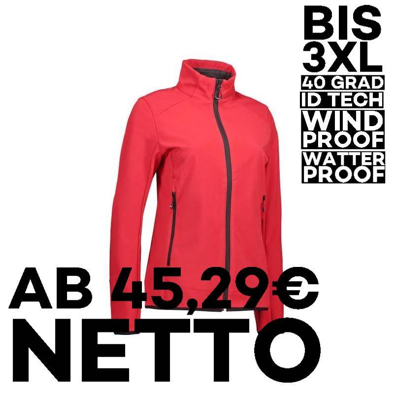 Funktionelle Soft Shell Damenjacke 856 von ID / Farbe: rot / 100% POLYESTER - 1