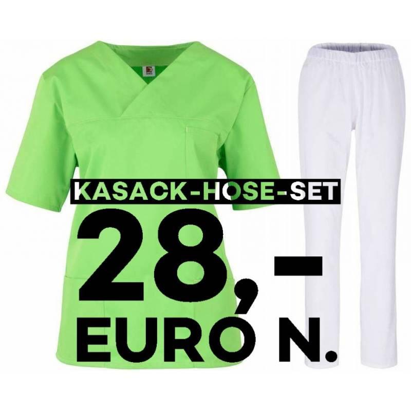 SALE - Kombination aus KASACK 2651 und SCHLUPFHOSE 2648 von MEIN-KASACK.de / Farbe: apple - weiß - | MEIN-KASACK.de | ka