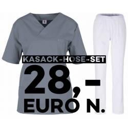 SALE - Kombination aus KASACK 2651 und SCHLUPFHOSE 2648 von MEIN-KASACK.de / Farbe: grau - weiß - | MEIN-KASACK.de | kas