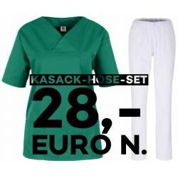SALE - Kombination aus KASACK 2651 und SCHLUPFHOSE 2648 von MEIN-KASACK.de / Farbe: grün - weiß - | MEIN-KASACK.de | kas