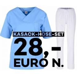 SALE - Kombination aus KASACK 2651 und SCHLUPFHOSE 2648 von MEIN-KASACK.de / Farbe: hellblau - weiß - | MEIN-KASACK.de |