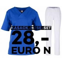SALE - Kombination aus KASACK 2651 und SCHLUPFHOSE 2648 von MEIN-KASACK.de / Farbe: kornblau - weiß - | MEIN-KASACK.de |