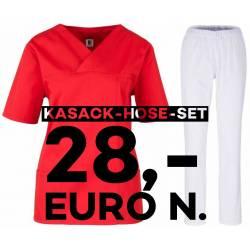 SALE - Kombination aus KASACK 2651 und SCHLUPFHOSE 2648 von MEIN-KASACK.de / Farbe: rot - weiß - | MEIN-KASACK.de | kasa