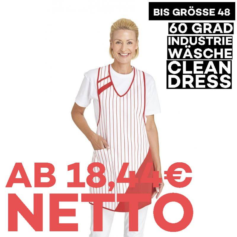 Überwurfschürze 738 von LEIBER / Farbe: weiß-rot / 65 % Polyester 35 % Baumwolle - | MEIN-KASACK.de | kasack | kasacks |