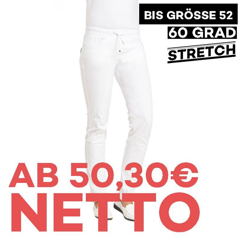 Damenhose - STRETCH - 7100 von LEIBER / Farbe: weiß-türkis / 72% Baumwolle 23% Polyamid 5% Elastolefin - | MEIN-KASACK.d