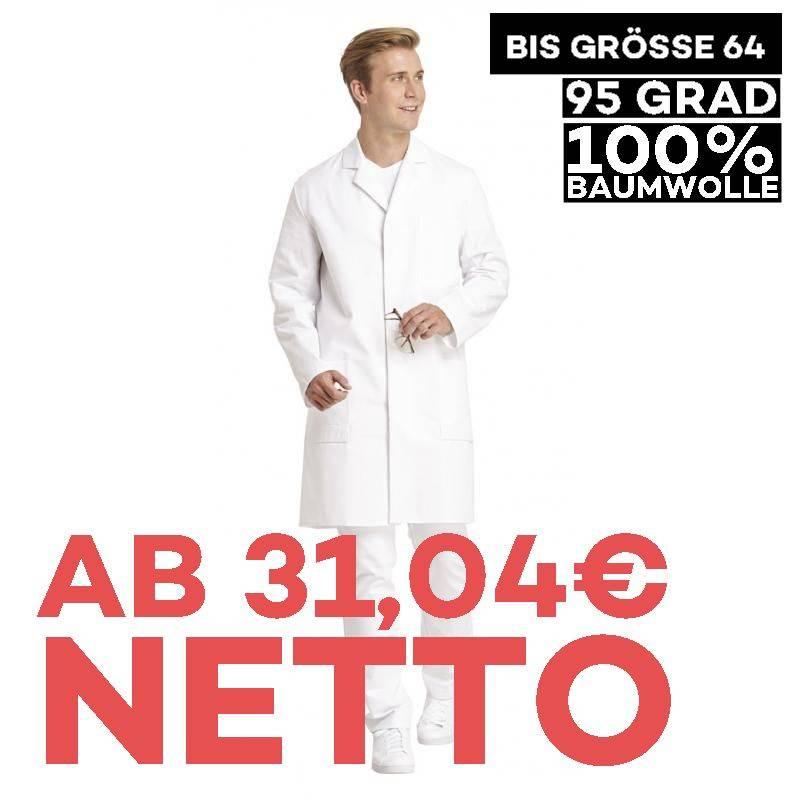 Herrenmantel / Arztkittel / Laborkittel - 181 von LEIBER / Farbe: weiß / 100 % Baumwolle Feinköper - | MEIN-KASACK.de |