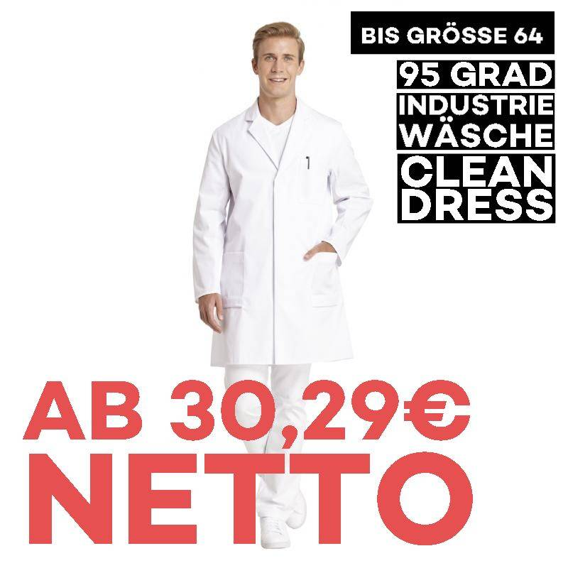 Herrenmantel / Arztkittel / Laborkittel - 492 von LEIBER / Farbe: weiß / 65 % Polyester 35 % Baumwoll - | MEIN-KASACK.de