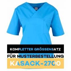 Kompletter Größensatz für Musterbestellung: Damen-Kasack / OP - Kasack - 2700 von MEIN-KASACK.de / Farbe: azur - 1