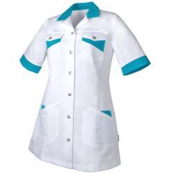 Damen -  Kasack 1079 von TEAMDRESS / Farbe: weiß-türkis / 65% Polyester - 35% Baumwolle - 215g/m2 - | MEIN-KASACK.de | k