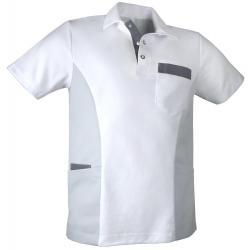 Herren - STRETCH-Kasack 1068 von TEAMDRESS / Farbe: weiß-grau-dunkelgrau / 55% Baumwolle / 45% Polyester- 185g/m² - | ME