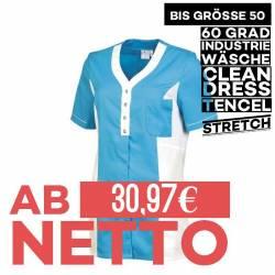 Damen - TENCEL-Kasack 2789 von LEIBER / Farbe: weiß-türkis / 50% Baumwolle, 50% Polyester - 1