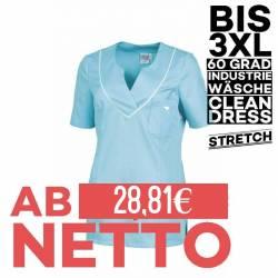 Damen - STRETCH-Kasack / Schlupfjacke 2788 von LEIBER / Farbe: aqua-weiß / 50% Baumwolle, 50% Polyester - | MEIN-KASACK.