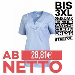Damen - STRETCH-Kasack / Schlupfjacke 2788 von LEIBER / Farbe: hellblau/weiß / 50% Baumwolle, 50% Polyester - 1
