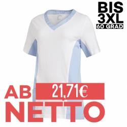 Damen -  Schlupfjacke 2531 von LEIBER / Farbe: weiß-hellblau / 50 % Baumwolle 50 % Polyester - | MEIN-KASACK.de | kasack