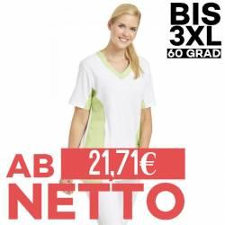 Damen -  Schlupfjacke 2531 von LEIBER / Farbe: weiß-hellgrün / 50 % Baumwolle 50 % Polyester - | MEIN-KASACK.de | kasack