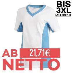 Damen -  Schlupfjacke 2531 von LEIBER / Farbe: weiß-türkis / 50 % Baumwolle 50 % Polyester - | MEIN-KASACK.de | kasack |