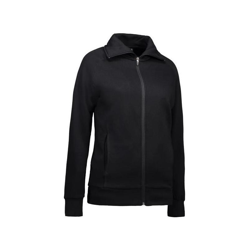 Damen Sweatshirtjacke 624 von ID / Farbe: schwarz / 60% BAUMWOLLE 40% POLYESTER - | MEIN-KASACK.de | kasack | kasacks |