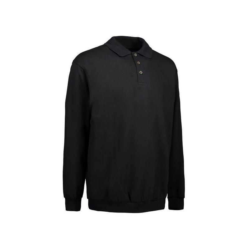 Klassisches Herren Polo-Sweatshirt 601 von ID / Farbe: schwarz / 70% BAUMWOLLE 30% POLYESTER - | MEIN-KASACK.de | kasack